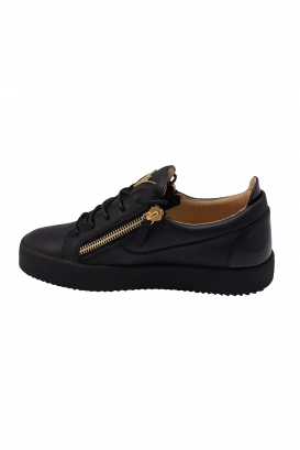 Giuseppe Zanotti lace-up sneakers in black leather with black patent leather inserts, side zip closures and black rubber sole