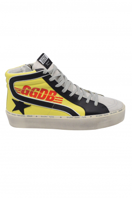 Golden Goose lace-up sneakers in yellow leather with black leather details and oversize sole