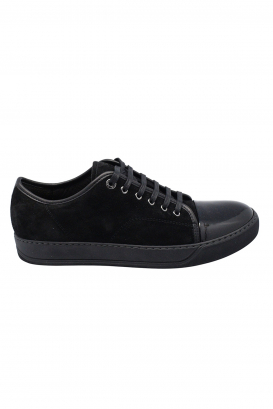 Lanvin sneakers in black suede with black patent leather toe and black rubber sole