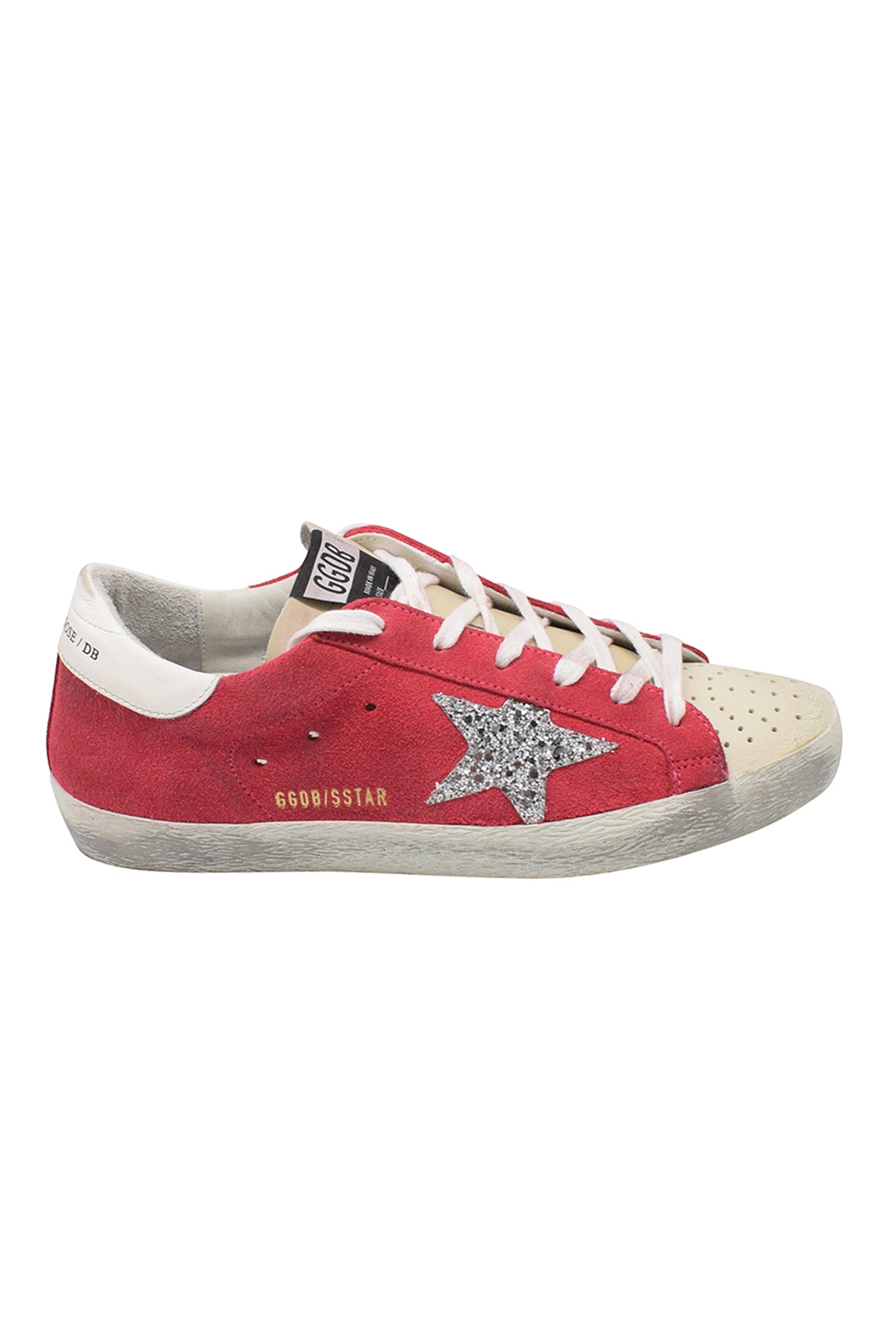Golden Goose lace-up sneakers in vintage effect pink suede with glittered silver star and beige leather toe and tongue