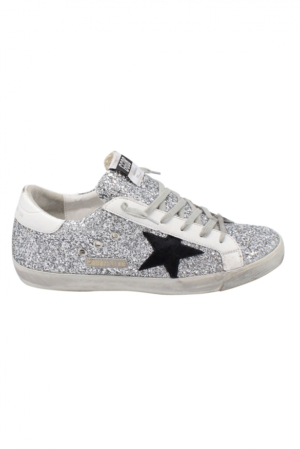 Golden Goose lace-up sneakers with silver glitters, black suede star and white leather heel tab