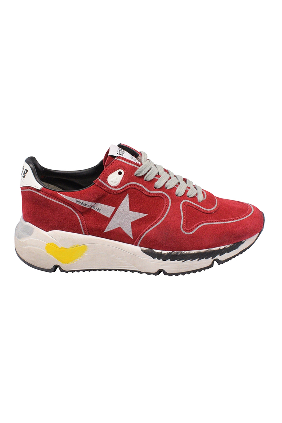 Golden Goose lace-up sneakers in red suede with grey printed star, white leather heel tab and customized rubber sole