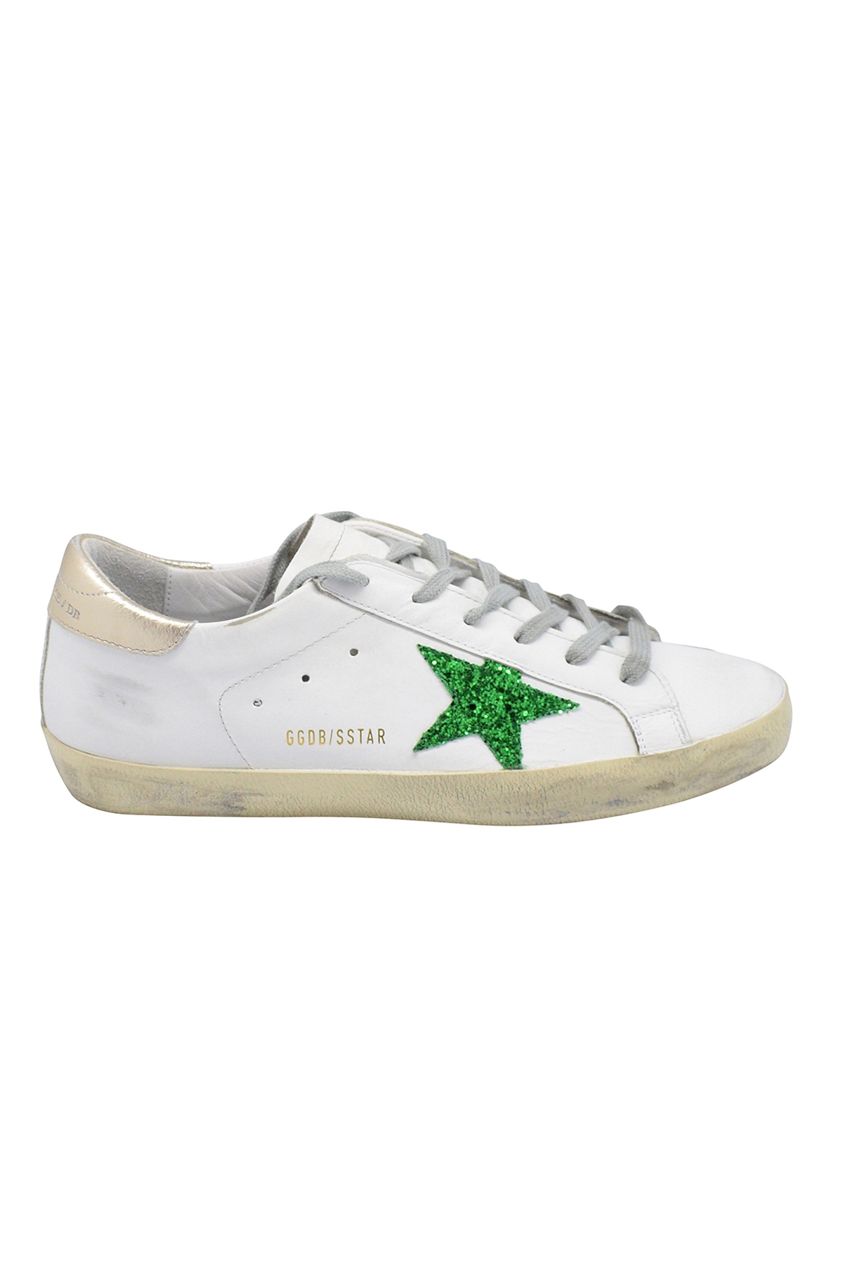 Golden Goose Superstar lace-up sneakers in white leather with green glittered star and gold leather heel tab