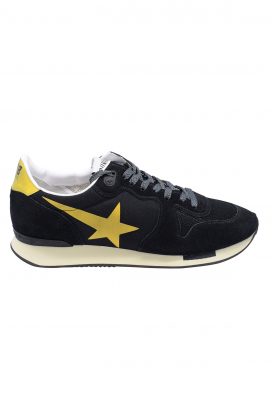 Golden Goose lace-up sneakers in black suede and lycra with yellow star and heel tab and oversized sole