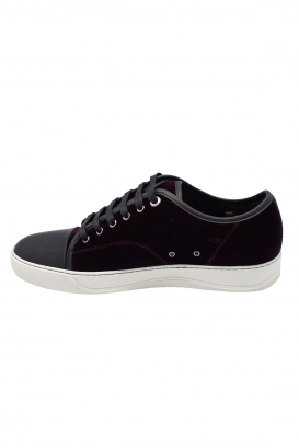 Lanvin sneakers in purple velvet with black rubber toe and white rubber sole