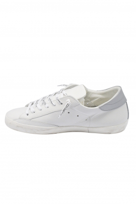 Philippe Model Paris sneakers in white leather with silver heel tab and white laces with logo