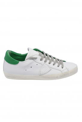 Philippe Model Paris worn effect sneakers in white leather with green leather heel tab