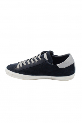 Philippe Model Paris worn effect sneakers in blue suede with silver leather heel tab