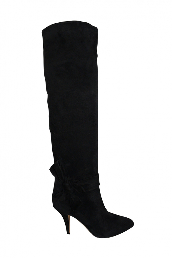 Valentino high boots in black suede with tone on tone bow-tie at the ankle and mid-high heel