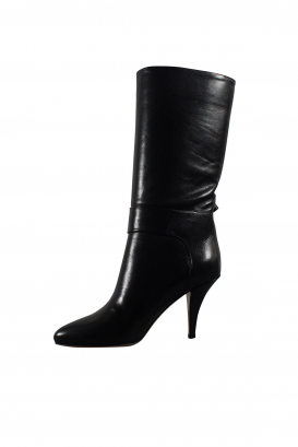 Valentino low boots in black leather with bow-tie at the ankle with platinium finish studs and mid-high heel