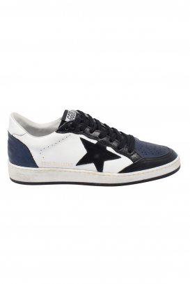 Golden Goose Ball Star sneakers in white leather, blue iridescent leather heel tab and toe, black nylon tongue and black leather