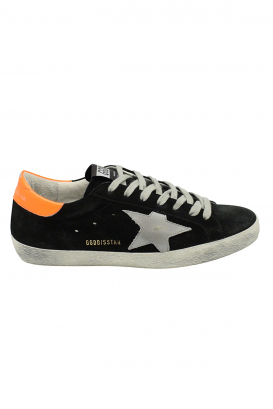 Golden Goose Superstar sneakers in black suede with grey leather star and orange leather heel tab
