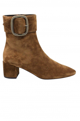 Saint Laurent Joplin 50 boots in camel suede with buckle at the ankle and low heel