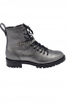 Jimmy Choo Cruz lace-up boots in anthracite metallic grained leather with crystal detailing and notched rubber sole.