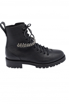 Jimmy Choo Cruz lace-up boots in black grained leather with crystal detailing and notched rubber sole.