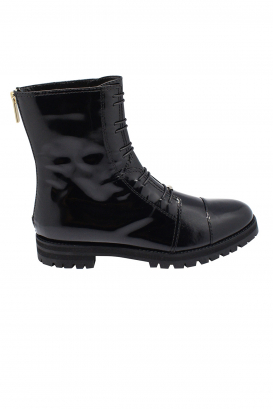 Jimmy Choo Haze Flat lace-up boots in black patent leather with zip closure at the back