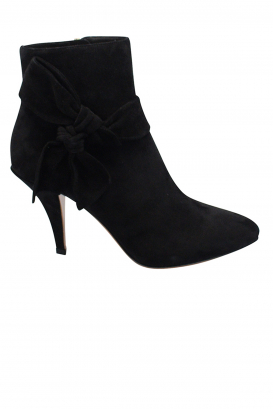 Valentino booties in black suede with tone on tone bow-tie at the ankle, high heel and zip closure