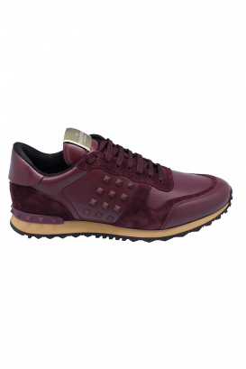 Valentino Rockstud sneakers in bordeaux suede and leather with tone on tone rubber studs