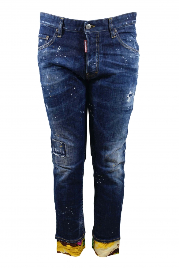 Dsquared2 Skater dark blue faded jean with button closure, white and gold paint stains and flowing yellow hems with desert and p