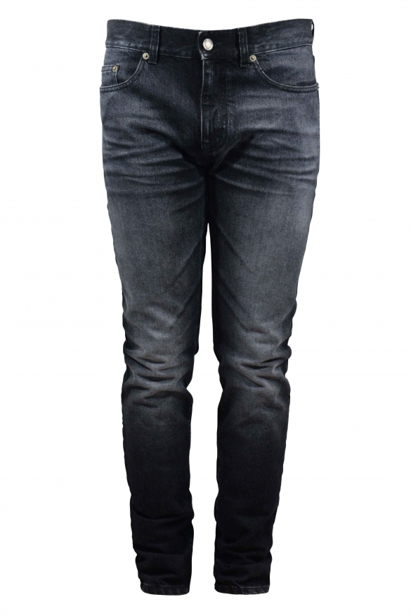 Saint Laurent Slim grey jean with Saint Laurent University blue, white and red patch at the back