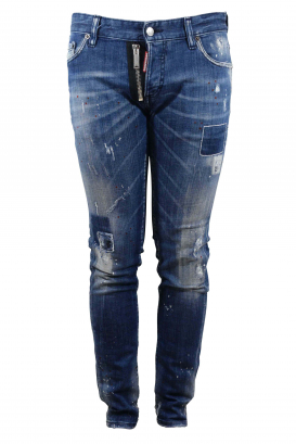 Dsquared2 blue Slim jean with paint effect red spots, patches, zip and button closure