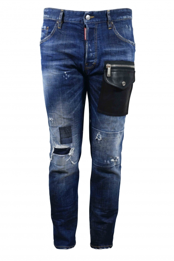 Dsquared2 blue Cool Guy jean with destroyed effect, zipped leather pockets and button closure