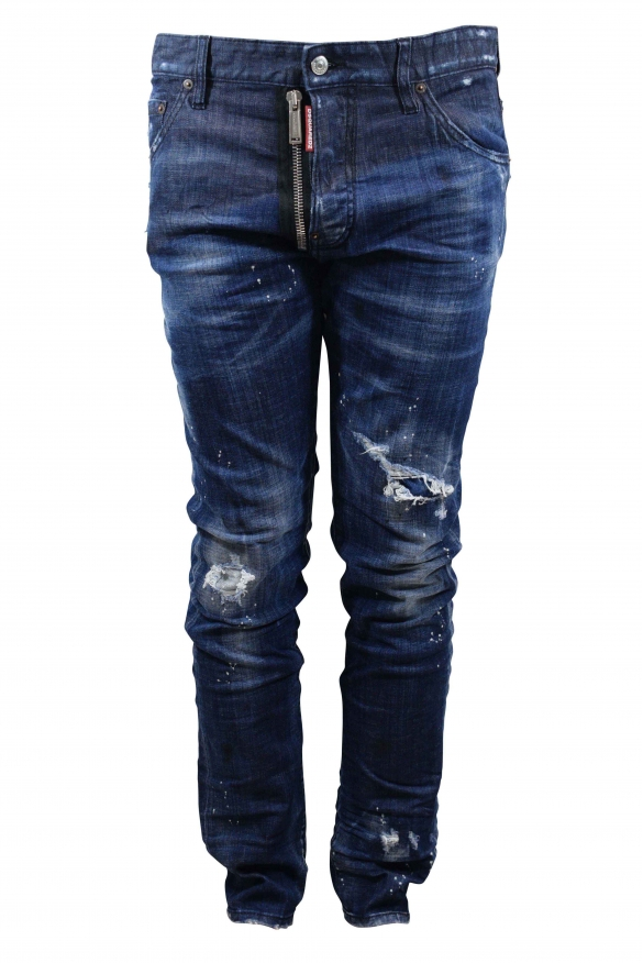Dsquared2 dark blue faded Cool Guy jean with destroyed effect, white paint effect spots, zip and button closure