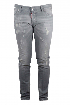 Dsquared2 light grey Slim jean with destroyed effect button closure