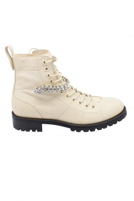 Jimmy Choo Cruz lace-up boots in white grained leather with crystal detailing and notched rubber sole.