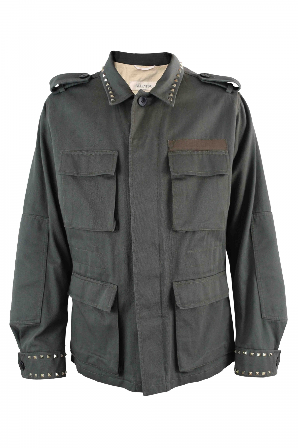 Valentino Rockstud kaki jacket with 4 pockets at the front and platinium finish studs on the neck and the sleeves