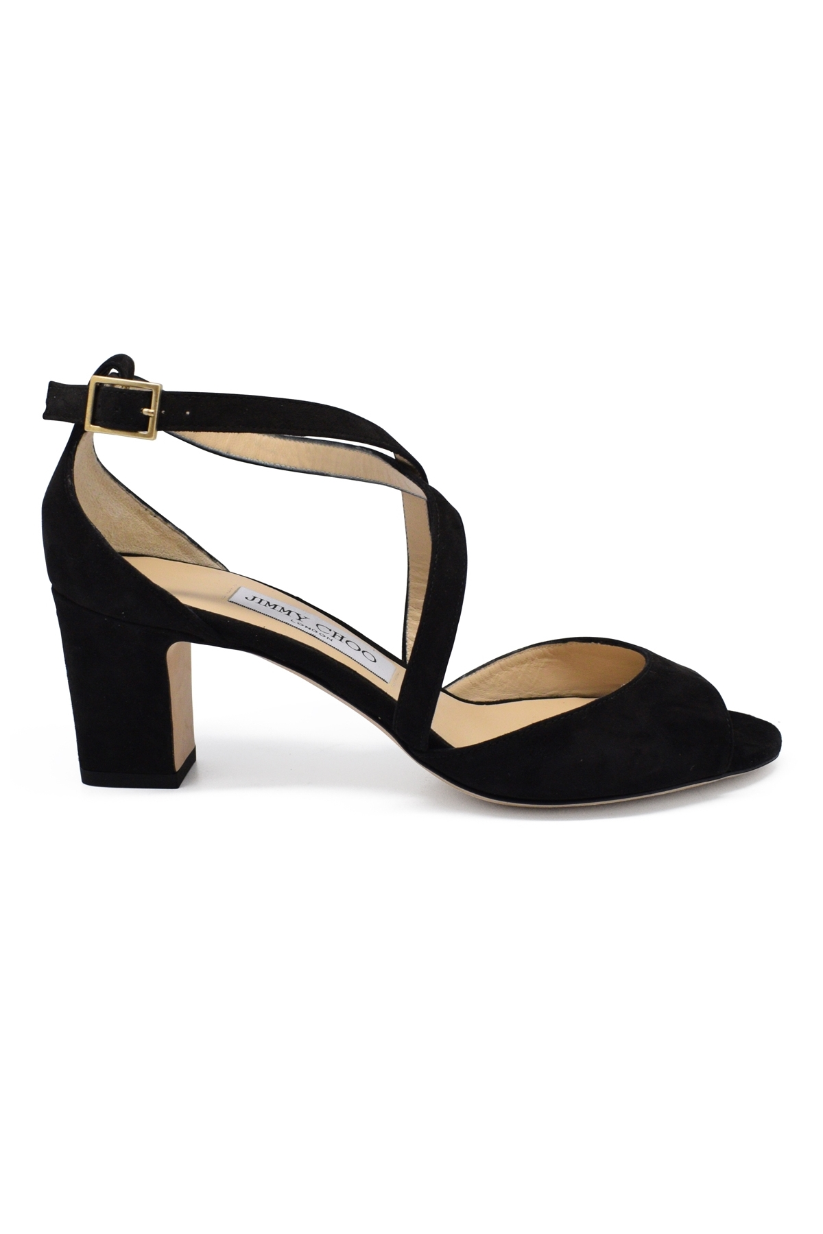 Jimmy Choo Carrie 65 sandals in black suede with mid-high heel and open toe, crossed bridles at the front and buckled ankle stra