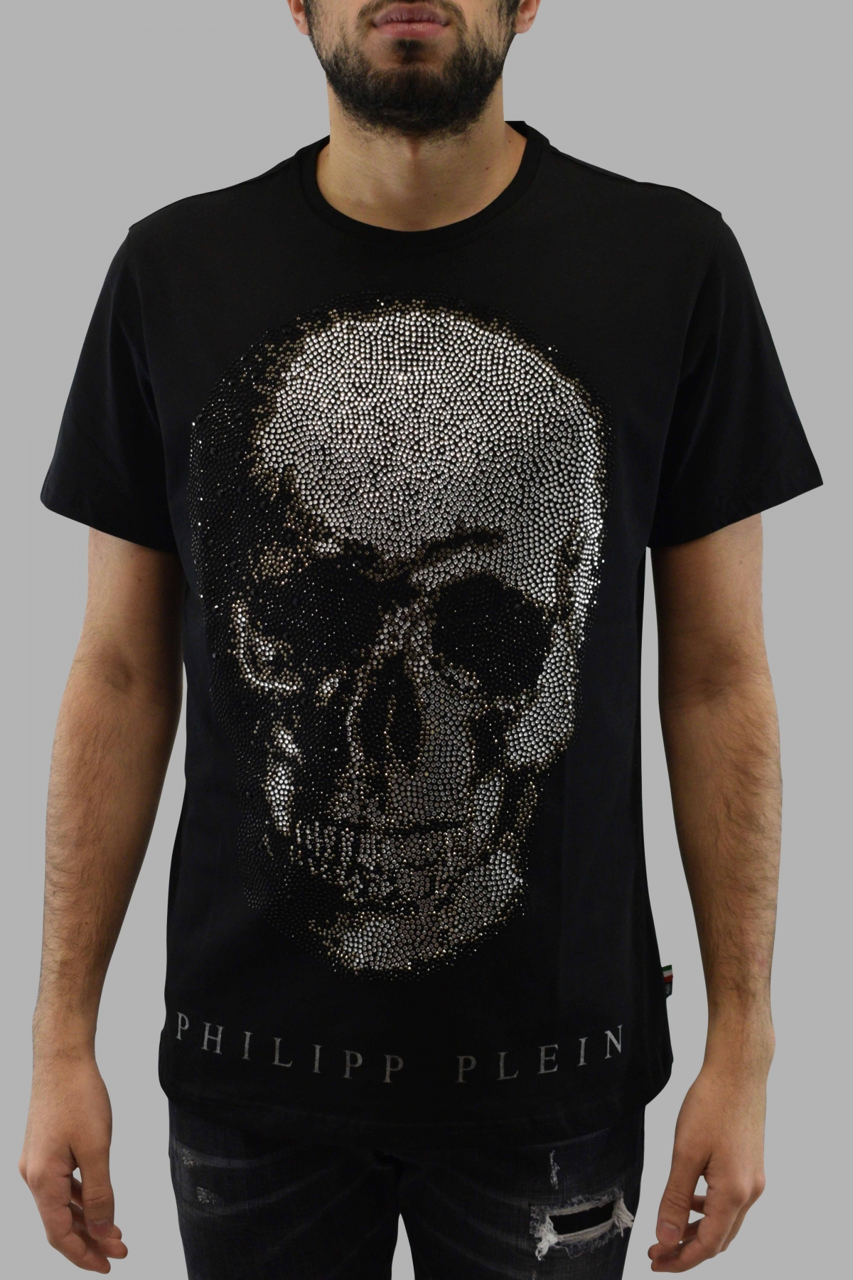 Philipp Plein black short sleeves t-shirt with full strass skull on the front and silver PP logo on the back
