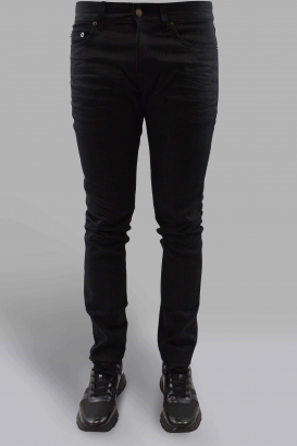 Saint Laurent Slim black jean with holes at the knees