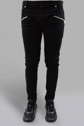 Balmain Biker black jean with zipped pocket, biker style knees and side strip with white Balmain Paris lettering