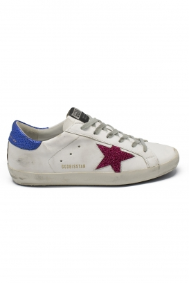 Golden Goose lace-up sneakers in white leather with bordeaux glittered star and spotted blue leather heel tab