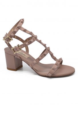 Valentino Rockstud mid-high powder pink sandals with tone-on-tone lacquered studs