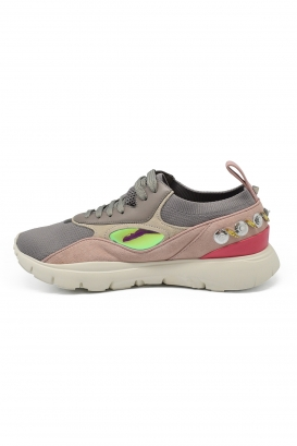 Valentino embroidered embroidered sneakers in grey knit fabric, pink suede and calfskin with mixed stones, beads and sequins