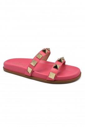 Valentino Macro Stud flip flops in oink leather and rubbet with big gold studs