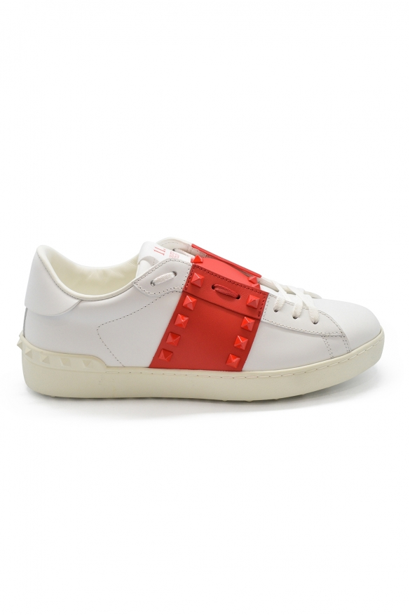 Valentino Rockstud 11 sneakers in white leather with red leather and red rubber studs