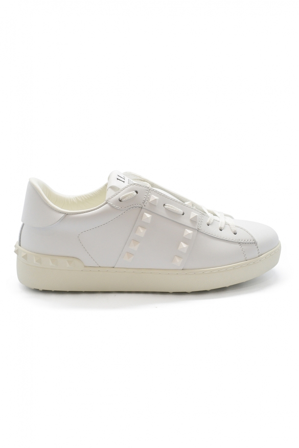 Valentino Rockstud 11 sneakers in white leather with white rubber studs