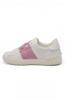 Valentino Open lace-up sneakers in white leather with pink strip and rhinestoned stars