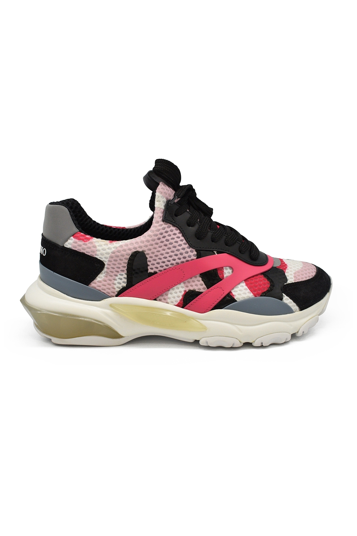Valentino Bounce sneakers in white, black and pink camouflage suede, leather and fabric with oversized sole and reflecting effec