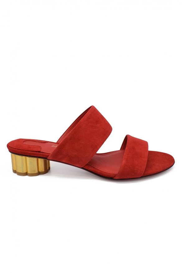 Salvatore Ferragamo mules in red suede with flower shaped golden heel