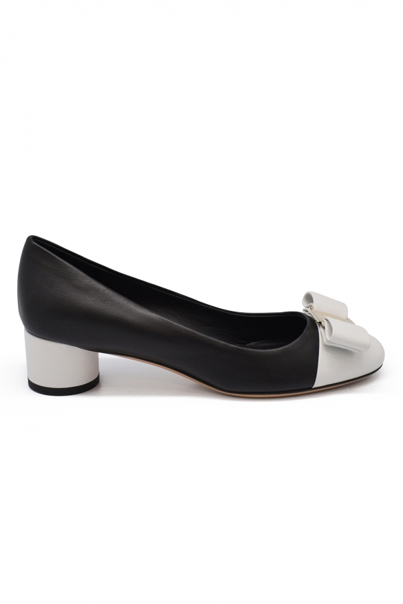 Salvatore Ferragamo Varina pumps in black and white leather with iconic Vara bow on the front