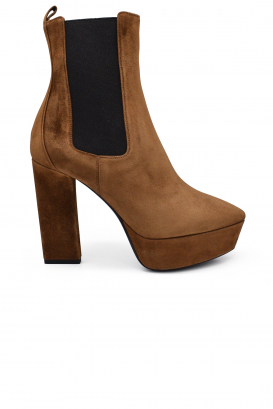 Saint Laurent Chelsea Vika 95 boots in camel suede with side elastics and thin platform heel