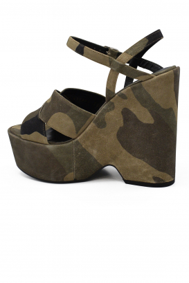 Sandales compensées camouflage Saint Laurent en daim kaki