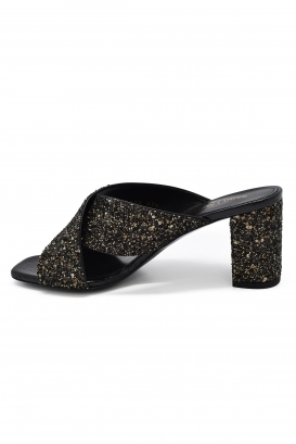 Saint Laurent Loulou mules with golden and black glitters with mid-high heel and thick strap crossed on the stem