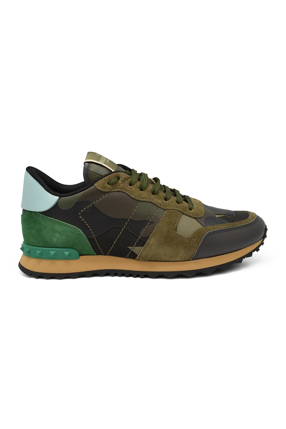 Valentino Rockrunner camouflage sneakers in kaki and green fabric and nappa