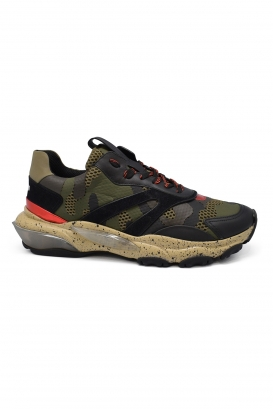 Valentino Bounce camouflage sneakers in black, kaki and red leather and fabric with oversized sole