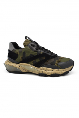 Valentino Bounce sneakers in black and kaki camouflage leather and fabric with oversized sole